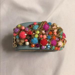 New Light Blue Leather Embellished Jeweled Cuff
